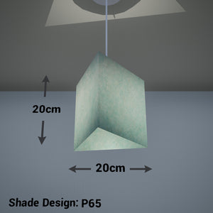 Triangle Lamp Shade - P65 - Turquoise Lokta, 20cm(w) x 20cm(h)