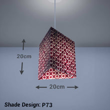 Triangle Lamp Shade - P73 - Batik Red Circles, 20cm(w) x 20cm(h) - Imbue Lighting