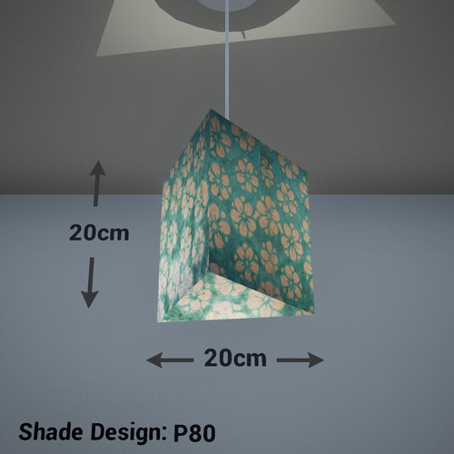 Triangle Lamp Shade - P80 ~ Batik Star Flower Mint Green, 20cm(w) x 20cm(h) - Imbue Lighting