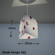 Triangle Lamp Shade - P82 ~ Hearts on Lokta Paper, 20cm(w) x 20cm(h) - Imbue Lighting