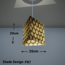 Triangle Lamp Shade - P87 ~ Batik Dots on Green, 20cm(w) x 20cm(h)