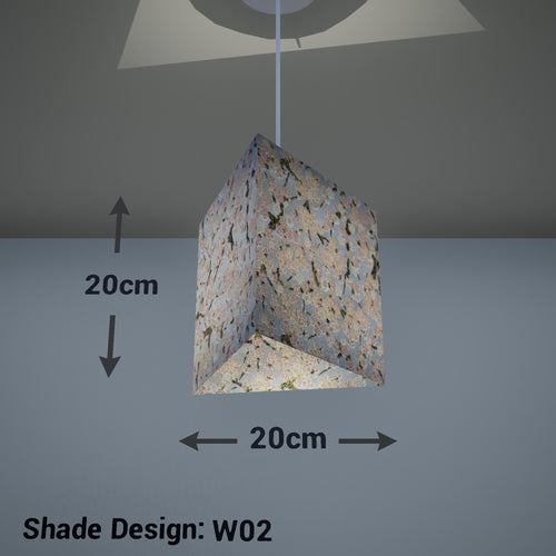 Triangle Lamp Shade - W02 ~ Pink Cherry Blossom on Grey, 20cm(w) x 20cm(h) - Imbue Lighting