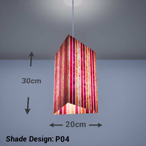 Triangle Lamp Shade - P04 - Batik Stripes Pink, 20cm(w) x 30cm(h) - Imbue Lighting