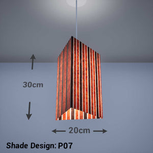Triangle Lamp Shade - P07 - Batik Stripes Brown, 20cm(w) x 30cm(h) - Imbue Lighting
