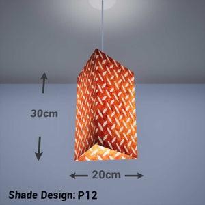 Triangle Lamp Shade - P12 - Batik Tread Plate Brown, 20cm(w) x 30cm(h) - Imbue Lighting