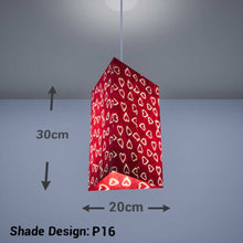 Triangle Lamp Shade - P16 - Batik Hearts on Cranberry, 20cm(w) x 30cm(h) - Imbue Lighting