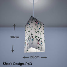 Triangle Lamp Shade - P43 - Embroidered Flowers on White, 20cm(w) x 30cm(h) - Imbue Lighting