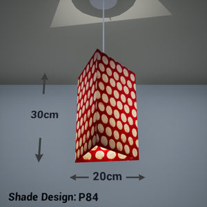 Triangle Lamp Shade - P84 ~ Batik Dots on Red, 20cm(w) x 30cm(h)