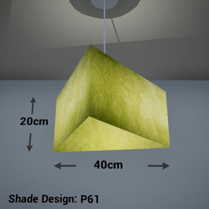 Triangle Lamp Shade - P61 - Lime Lokta, 40cm(w) x 20cm(h)