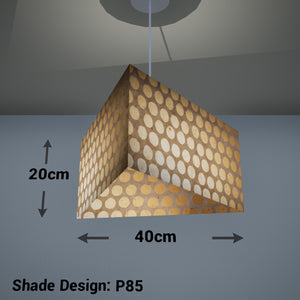 Triangle Lamp Shade - P85 ~ Batik Dots on Natural, 40cm(w) x 20cm(h)