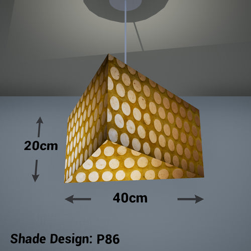 Triangle Lamp Shade - P86 ~ Batik Dots on Yellow, 40cm(w) x 20cm(h)