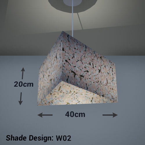 Triangle Lamp Shade - W02 ~ Pink Cherry Blossom on Grey, 40cm(w) x 20cm(h) - Imbue Lighting