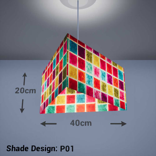 Triangle Lamp Shade - P01 - Batik Multi Square, 40cm(w) x 20cm(h) - Imbue Lighting