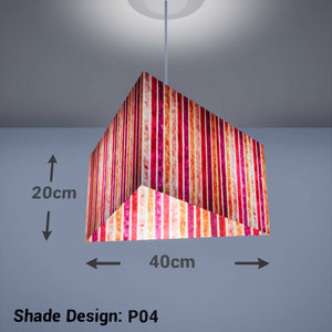 Triangle Lamp Shade - P04 - Batik Stripes Pink, 40cm(w) x 20cm(h) - Imbue Lighting