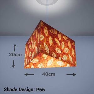 Triangle Lamp Shade - P66 - Batik Leaf on Camel, 40cm(w) x 20cm(h) - Imbue Lighting