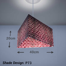 Triangle Lamp Shade - P73 - Batik Red Circles, 40cm(w) x 20cm(h) - Imbue Lighting