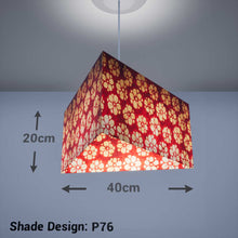Triangle Lamp Shade - P76 - Batik Star Flower Red, 40cm(w) x 20cm(h) - Imbue Lighting
