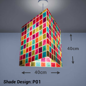 Triangle Lamp Shade - P01 - Batik Multi Square, 40cm(w) x 40cm(h) - Imbue Lighting