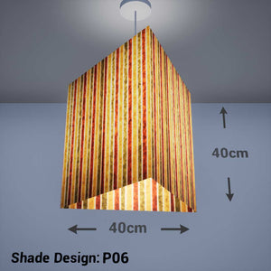 Triangle Lamp Shade - P06 - Batik Stripes Autumn, 40cm(w) x 40cm(h) - Imbue Lighting