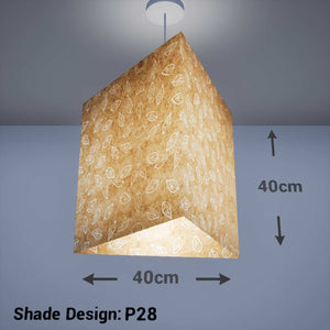 Triangle Lamp Shade - P28 - Batik Leaf on Natural, 40cm(w) x 40cm(h) - Imbue Lighting