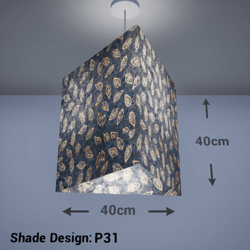 Triangle Lamp Shade - P31 - Batik Leaf on Blue, 40cm(w) x 40cm(h) - Imbue Lighting
