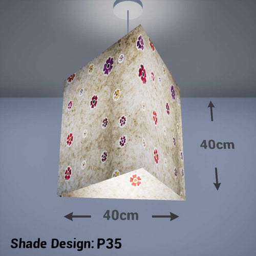 Triangle Lamp Shade - P35 - Batik Multi Flower on Natural, 40cm(w) x 40cm(h) - Imbue Lighting