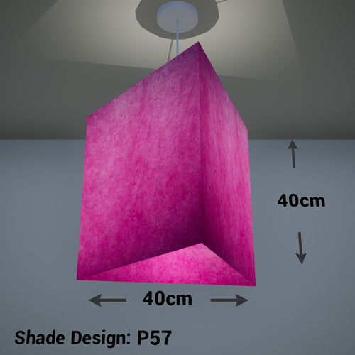 Triangle Lamp Shade - P57 - Hot Pink Lokta, 40cm(w) x 40cm(h)
