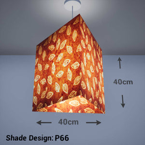 Triangle Lamp Shade - P66 - Batik Leaf on Camel, 40cm(w) x 40cm(h) - Imbue Lighting
