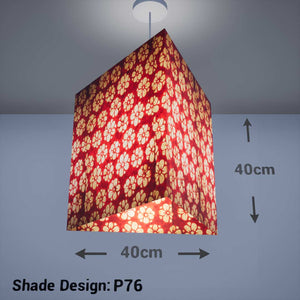 Triangle Lamp Shade - P76 - Batik Star Flower Red, 40cm(w) x 40cm(h) - Imbue Lighting