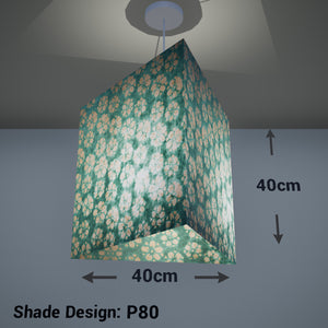 Triangle Lamp Shade - P80 ~ Batik Star Flower Mint Green, 40cm(w) x 40cm(h) - Imbue Lighting