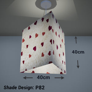 Triangle Lamp Shade - P82 ~ Hearts on Lokta Paper, 40cm(w) x 40cm(h) - Imbue Lighting