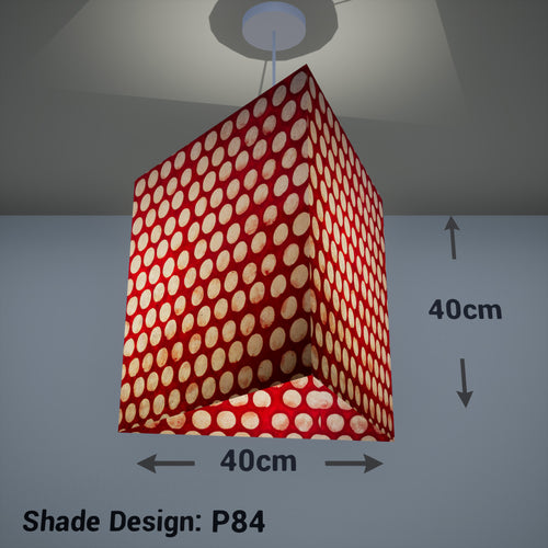 Triangle Lamp Shade - P84 ~ Batik Dots on Red, 40cm(w) x 40cm(h)