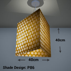 Triangle Lamp Shade - P86 ~ Batik Dots on Yellow, 40cm(w) x 40cm(h)
