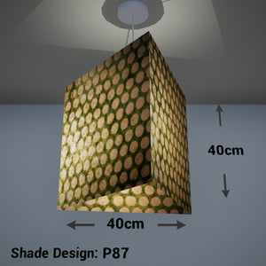Triangle Lamp Shade - P87 ~ Batik Dots on Green, 40cm(w) x 40cm(h)