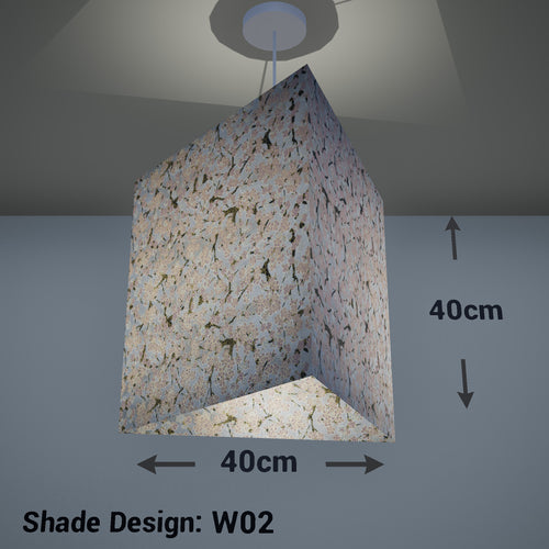 Triangle Lamp Shade - W02 ~ Pink Cherry Blossom on Grey, 40cm(w) x 40cm(h) - Imbue Lighting