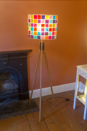 Oak Tripod Floor Lamp - P01 - Batik Multi Square