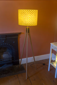 Oak Tripod Floor Lamp  - P89 ~ Batik Tread Plate Yellow