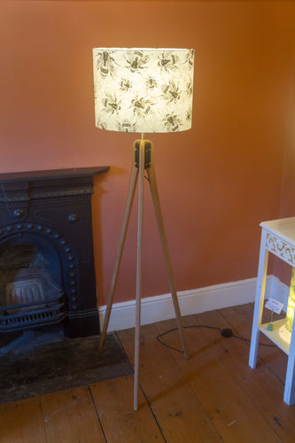 Oak Tripod Floor Lamp - P42 - Bees Screen Print on Natural Lokta