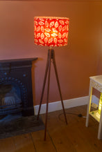 Sapele Tripod Floor Lamp - P30 - Batik Leaf on Red