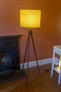 Sapele Tripod Floor Lamp - P89 ~ Batik Tread Plate Yellow
