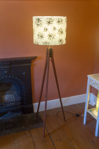 Sapele Tripod Floor Lamp - P42 - Bees Screen Print on Natural Lokta