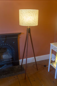 Sapele Tripod Floor Lamp - P69 - Garden Gold on Natural