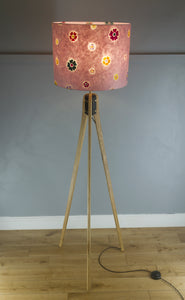 Oak Tripod Floor Lamp - P36 - Batik Multi Flower on Pink