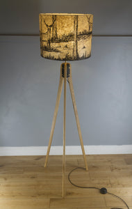 Oak Tripod Floor Lamp - Brown Lokta Deer Screen Print