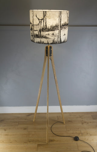 Oak Tripod Floor Lamp - Natural Lokta Deer Screen Print