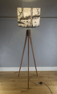 Sapele Tripod Floor Lamp - Natural Lokta Deer Screen Print