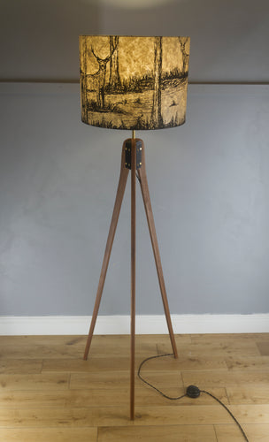 Sapele Tripod Floor Lamp - Brown Lokta Deer Screen Print