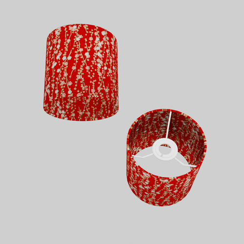 Drum Lamp Shade - W01 ~ Red Daisies, 15cm(d) x 15cm(h)