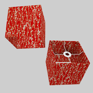 Square Lamp Shade - W01 ~ Red Daisies, 20cm(w) x 20cm(h) x 20cm(d)