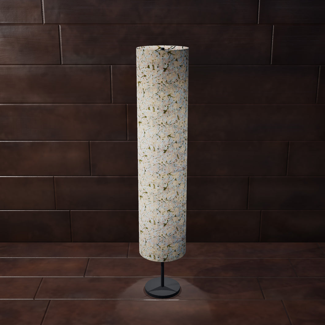 Drum Floor Lamp - W02 ~ Pink Cherry Blossom on Grey, 22cm(d) x 114cm(h) - Imbue Lighting